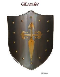 Escudo Medieval Cruz Orden de Santiago Latón