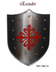 Medieval Shield Red Calatravos Cross