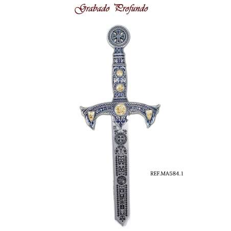 Espada Templarios (Plata  Esmalt.Azul)